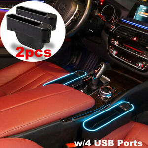 Upgraded LED Light Car Seat Gap Catcher Storage Box Organizer Pocket Right &Left