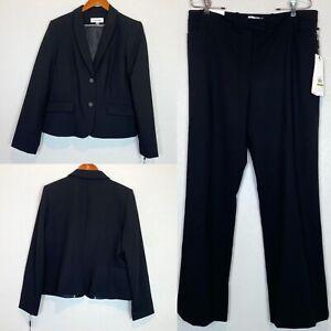 Calvin Klein NEW Womens Two Piece Pant Suit Set / Jacket Blazer Black Sz 14