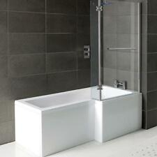 Right Hand L Shaped Shower Bath 1500mm Panel Glass Shower Screen Towel Rail