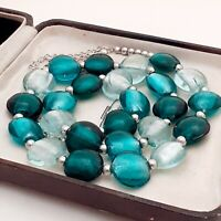 Lush Shades of Green Silver Foil Glass Bead Vintage Style Necklace 53cm Length