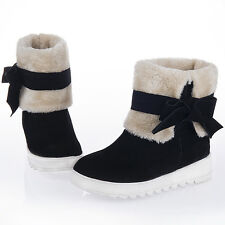 Chic New Womens Pull ON Ankle Boots Bowknot Snow Winter Shoes Fur Top Plus Sz 10