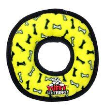 NEW Tuffy Ring Dog Chew Toy Tuff Scale 8 Yellow B/W bones toss play medium big