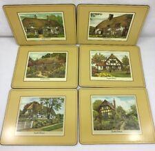 VTG Set of 6 Pimpernel Cork Backed Placemats English Cottages England