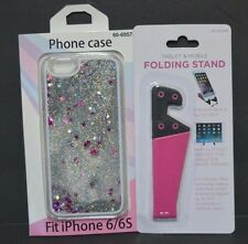 iPhone 6/6s Silver Star Glitter Case and Folding Stand Combo Brand New