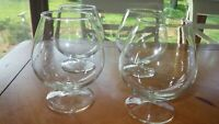 Large Brandy Snifters clear glass 4 20 + ounce Glasses stems wafer stem EUC
