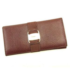 Salvatore Ferragamo Wallet Purse Vera Brown Gold Woman Authentic Used T135