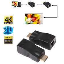 2X 4K 1080P 3D HDMI Extender to RJ45 Over Cat 5e/6 Network LAN Ethernet Ada