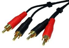 NEW 10M LONG 2 X RCA/PHONO MALE TO MALE CABLE, GOLD PLATED CONNECTORS