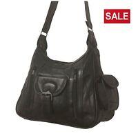 Women's Real Leather Soft Handbag Lightweight Bag Classic Shoulder Bag Black