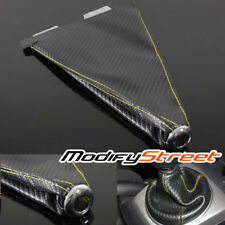CARBON FIBER LOOK BLACK/YELLOW STITCH JDM SHIFT KNOB SHIFTER BOOT COVER MT/AT