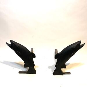 Vintage Liberty Foundry Cast Iron Trout Fish Fireplace Andirons