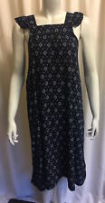 Women's Patterned Blue & White Midi Lose Fit Sleeveless Summer Party Dress 10-12