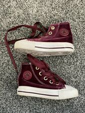 Berry Red Purple Velvet Rare Toddler Converse Size 4