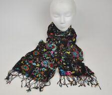 "Peace Love Deer Rainbows black/Multi-color Semi Sheer Scarf Fringe 76"" x18"" wrap"