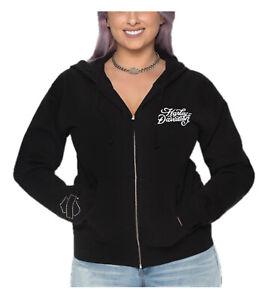 Harley-Davidson Women's Flocked H-D Zip-Up Poly-Blend Hooded Sweatshirt, Black