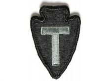 (H50) Green ARROW T MILITARY 1.75 x 2.5 iron on Hook patch for Loop Field (1613)