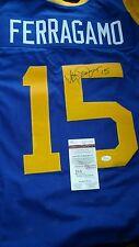 JSA Autographed VINCE FERRAGAMO LA Rams Vintage Replica HOME Jersey M