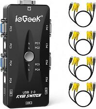 Iegeek Kvm Switches Switch Box 4 Port Pc Monitor Usb Vga Cables Cords Keyboard