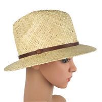 Madewell Womens Small to Medium Straw Panama Hat - Wide Brim w/ Leather Trim