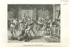 Assassinat de Henri III roi de France par Jacques Clément  en 1589  GRAVURE 1883