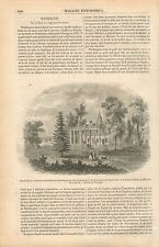Mount Vernon Potomac Résidence de George Washington GRAVURE ANTIQUE PRINT 1854