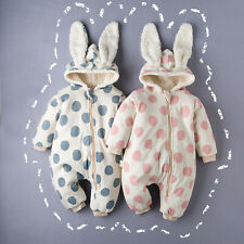 Newborn Infant Baby Boys Girls Warm Polka Dot Zipper Thick Hooded Romper Outfits
