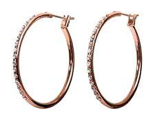 Swarovski Elements Crystal Fantastic Hoop Earrings Rose Gold Authentic New 7973v