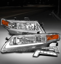 FOR 04-08 ACURA TSX CL9 LED PROJECTOR CHROME HEADLIGHTS W/DRL SIGNAL LEFT+RIGHT