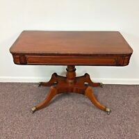 English Regency Banded Mahogany Hall Console Table with Brass Lion Paw Casters