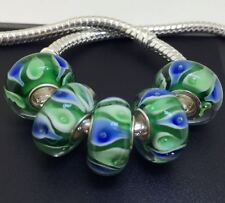 5PCS silver hallmarked Single Core Murano Glass Beads fit Charms Bracelet AOC259