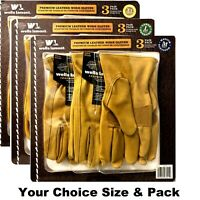 Wells Lamont Premium Cowhide Leather Work Gloves: your Size/Pack Choice