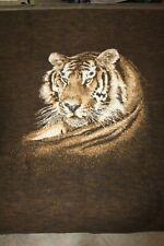 BIEDERLACK Tiger Blanket Throw Reversible Brown Ivory Made in USA Fleece Plush