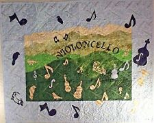 Violoncello  Music in the Mountains Wall Hanging Handmade Art Quilt Cello