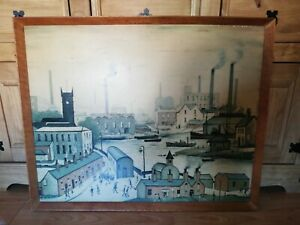 """L S LOWRY ANTIQUE / VINTAGE FRAMED PICTURE 'CANAL AND FACTORIES' 31"""" x 25"""""""