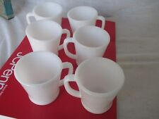 Vintage Fire King - Milk White Glass - D Handle Coffee Mugs / Cups - Set of 6