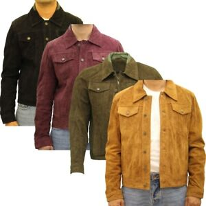 Mens Soft Suede Leather Casual Fitted Denim Style Western Trucker Jacket