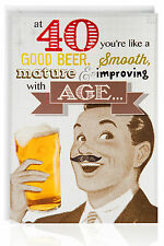 Quarantesimo compleanno maschile Divertente Humour Scherzo Card Saluti retrò vintage, BIRRA-otc7510