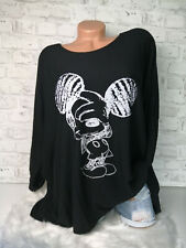 Italy Long Puder Vintage Pullover Gr. 36 38 40 42 Oversized black Mickey Mouse