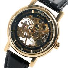Mechanical Hand Winding See-through Men Wrist Watch WINNER Genuine Leather Band