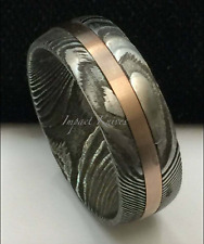 Genuine Damascus Twist Steel Copper Inlay Men's Wedding Engagement Band 8mm 10mm