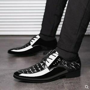 Fashion Men's Pu Leather Black Shoes Pointed Toe Dress Formal Business Flat Shoe