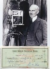 Lee De Forest Inventor 'Father of Radio' Awarded 180 Patents Signed Check .