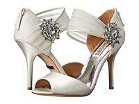 NIB Badgley Mischka Galya wedding bridal satin open toe heels ankle White