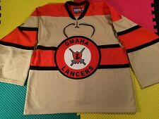 Omaha Lancers USHL Hooters Fight Strap Sewn Hockey Jersey Men's Size XL Made USA