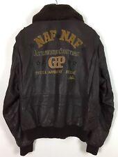 Mens Leather Jacket / Large / NAF NAF / Flying / Bomber / Casual