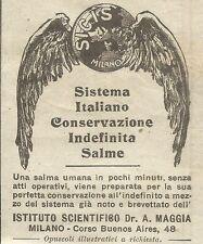 W8073 Conservazione Salme umane SICIS - Pubblicità 1926 - Advertising