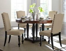 WINSTON-5pcs Traditional Cherry Brown Round Dining Room Table & Beige Chairs Set