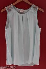 NWT Cynthia Rowley 100% Silk Aquamarine Blue Lace Trim Gorgeous Blouse Top S