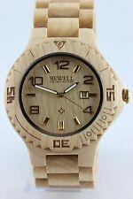 Bewell Reloj De Madera hombre o Talla Mujer Fecha 46mm Arce Producto A Regalo