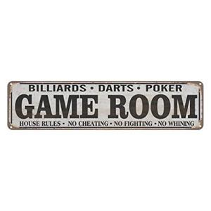Game Room House Rules Metal Street Sign, Billiards, Poker, Darts, Gaming, Man